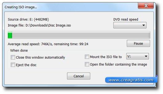 Schermata della creazione dell'immagine ISO