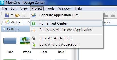 Schermata di MobiOne per testare applicazioni iPhone
