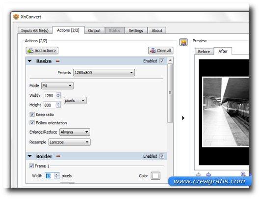Interfaccia del programma XnConvert