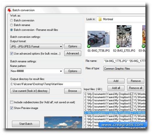 Interfaccia del programma IrfanView