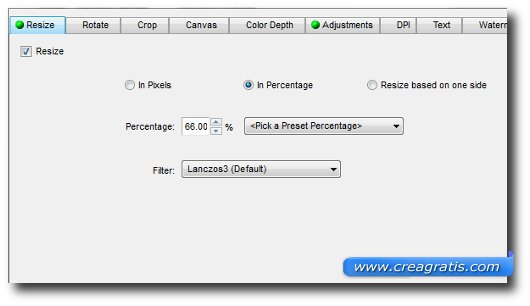 Interfaccia del programma FastStone Photo Resizer