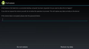 Schermata per il ripristino di un backup Android