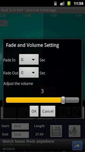 Strumento per la modifica del volume e del fade out e in