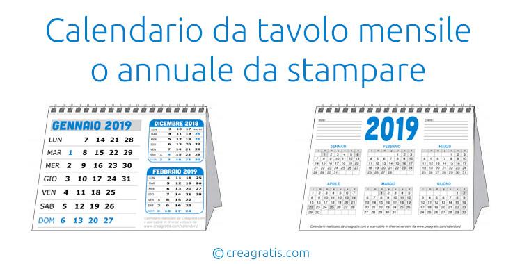 Calendario Annuale Da Stampare 2019.Calendario Da Tavolo 2019 In Pdf Da Stampare Gratis