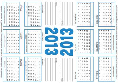 Esempio della pagina del calendario da tavolo annuale