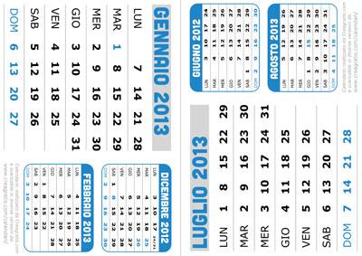 Esempio di stampa di una pagina del calendario