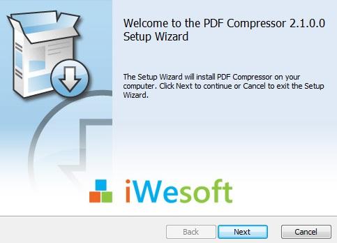 Schermata dell'installazione di PDF Compressor