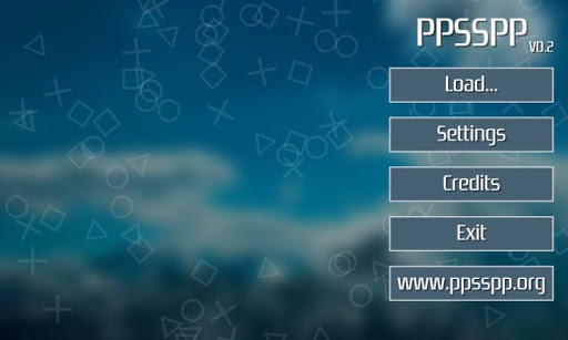 Interfaccia grafica dell'emulatore PPSSPP per Android