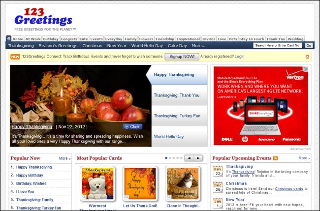 Immagine del sito 123Greetings per inviare cartoline