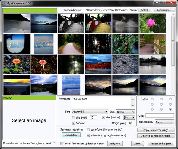 Interfaccia del software My Watermark per aggiungere watermark