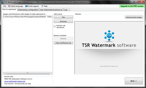 Interfaccia del software TSR Watermark per aggiungere watermark
