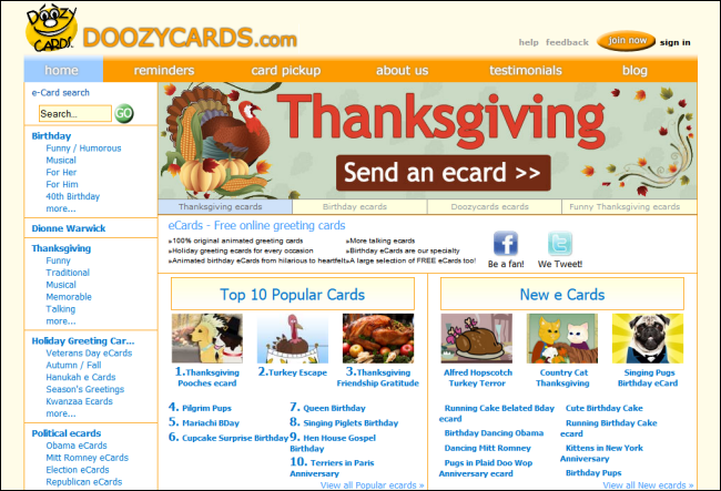 Immagine del sito Doozycards per inviare cartoline