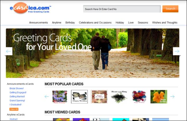 Immagine del sito eCardica per inviare cartoline