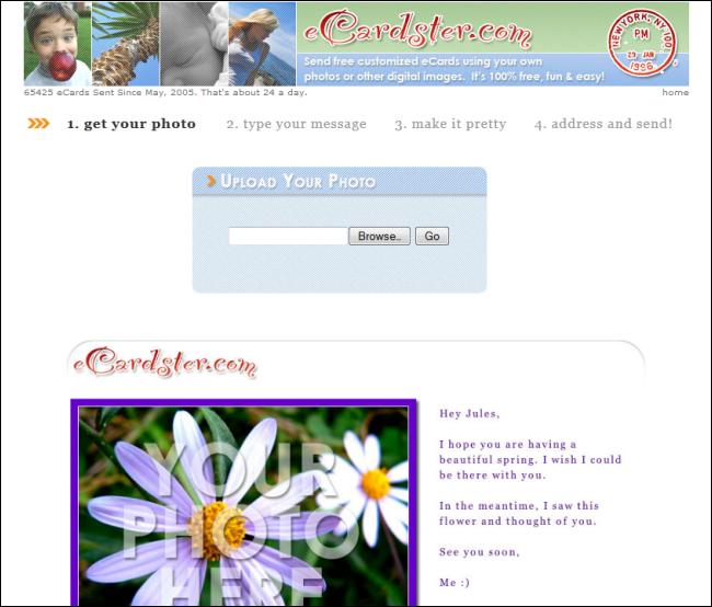Immagine del sito eCardster per inviare cartoline