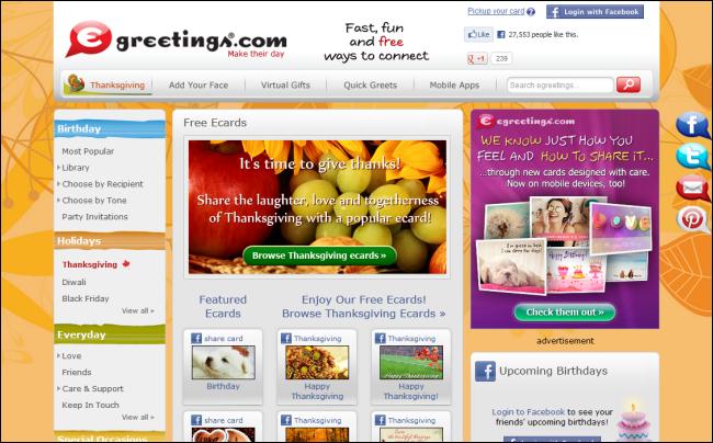 Immagine del sito Egreetings per inviare cartoline