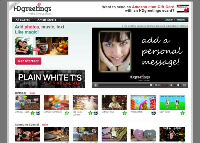 Immagine del sito HDgreetings per inviare cartoline