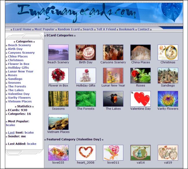 Immagine del sito ImaginaryCards per inviare cartoline