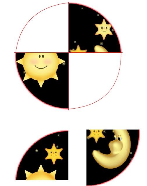 Disegno di Luna e stelle da ritagliare e incollare