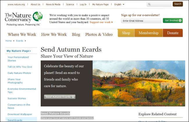 Immagine del sito Nature Conservancy per inviare cartoline
