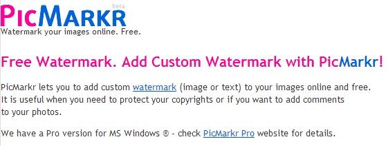 Immagine del sito Picmarkr per aggiungere watermark
