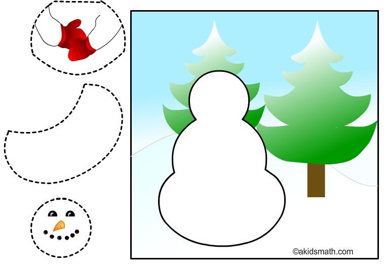 Disegno di un Pupazzo di neve da ritagliare e incollare