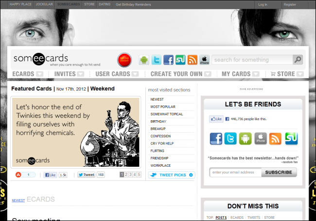 Immagine del sito Someecards per inviare cartoline