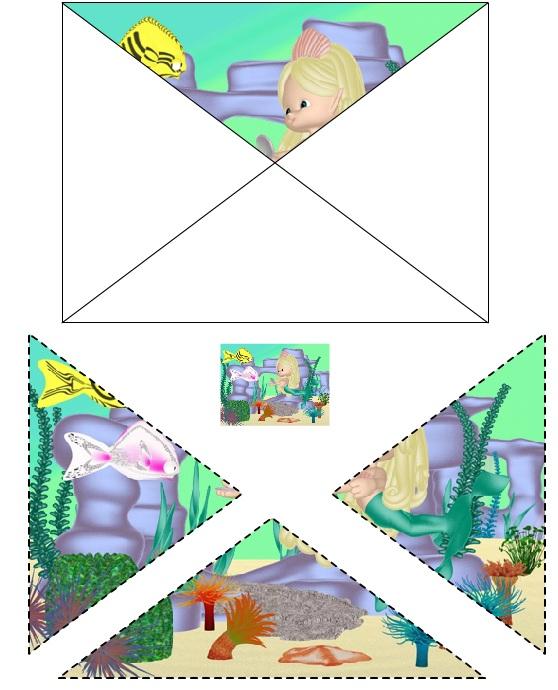 Disegno delle Triangolo delle Bermuda da ritagliare e incollare