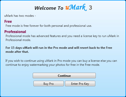 Interfaccia del software uMark per aggiungere watermark