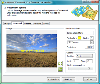 Interfaccia del software Alamoon Watermark per aggiungere watermark