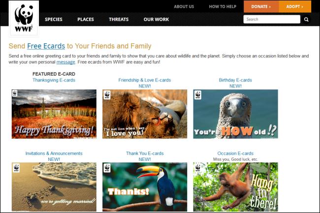 Immagine del sito World Wildlife Fund per inviare cartoline