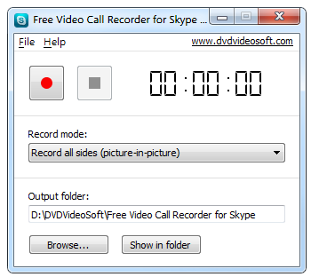 Interfaccia grafica di Free Video Call Recorder for Skype