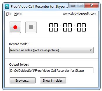 Interfaccia grafica di Free Video Call Recorder for Skype