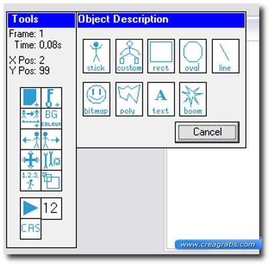 Schermata degli strumenti di TISFAT
