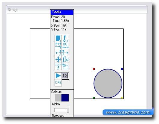 Schermata di spostamento dell'oggetto nello schermo