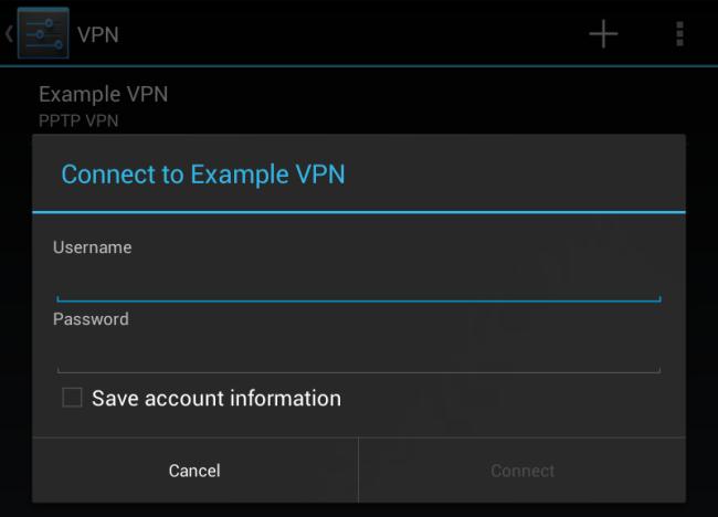 Schermata per l'inserimenti dei dati della connessione VPN