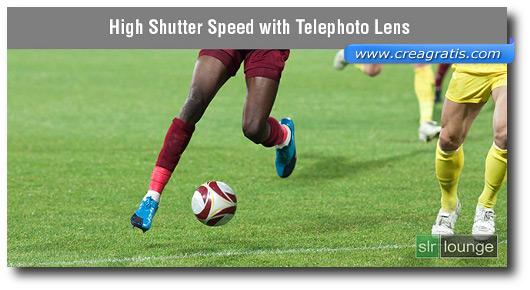 Foto di un giocatore in movimento scattata con teleobiettivo