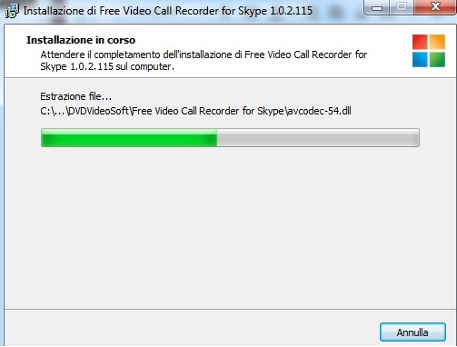 Schermata di installazione di Free Video Call Recorder for Skype