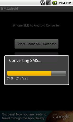 Immagine dell'applicazione durante la conversione degli SMS