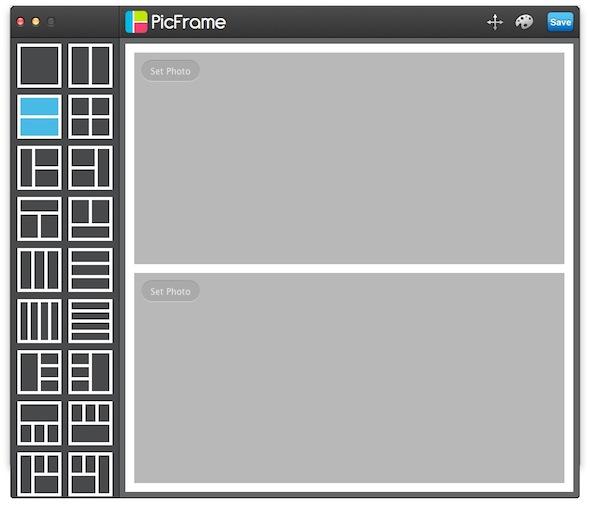 Interfaccia del software PicFrame per Mac