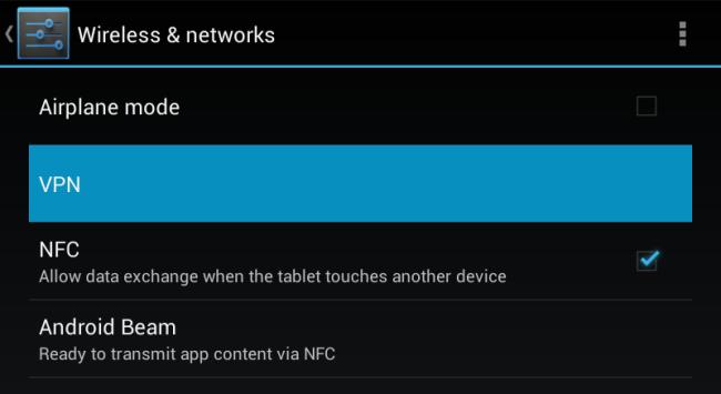 Schermata delle opzioni wireless di Android