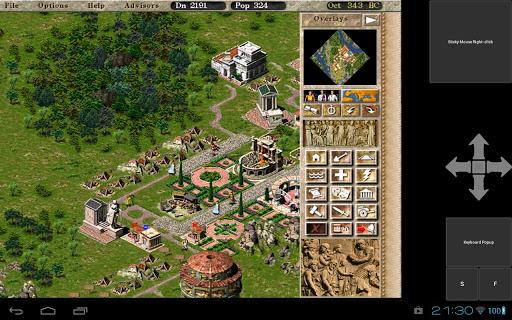 Immagine del gioco Caesar III avviato su Android con Winulator