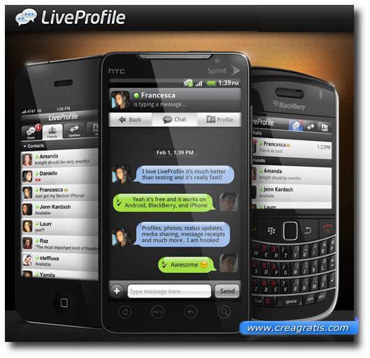 Immagine dell'applicazione LiveProfile per smartphone