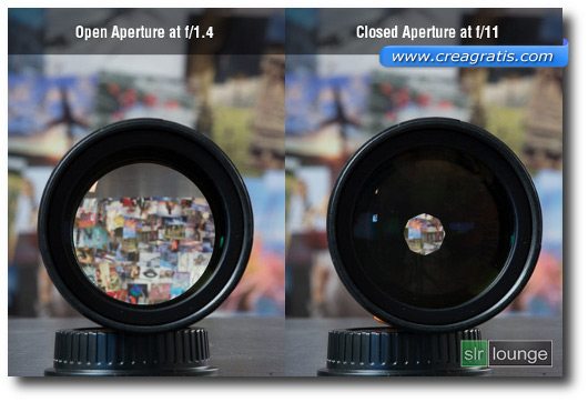 Immagine che mostra la differenza i due obiettivi con apertura del diaframma diverso