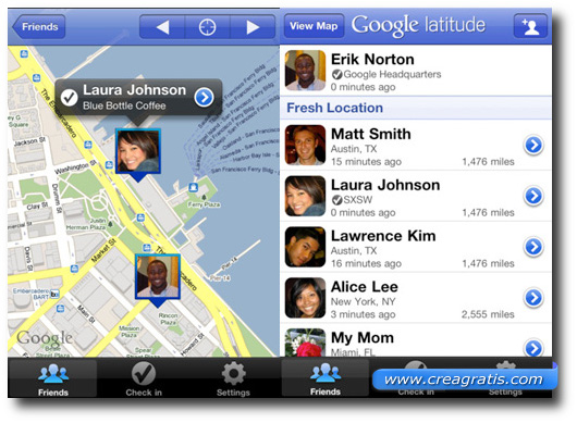 Immagine dell'applicazione Google Latitude per Android e iPhone