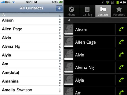 Schermate di un iPhone e uno smartphone Android con i contatti sincronizzati