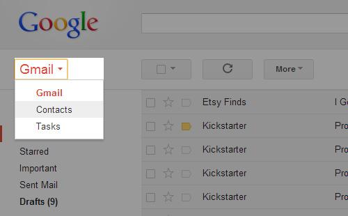 Schermata dei contatti trasferiti su Gmail