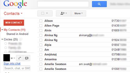 Schermata dei contatti trasferiti di Google