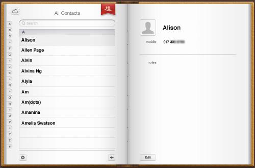 Schermata dei contatti su iCloud