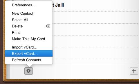 Schermata di iCloud per esportare i contatti
