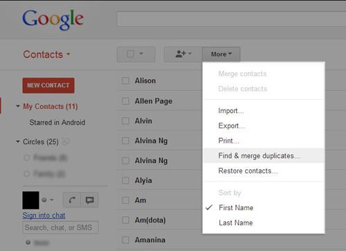 Schermata di Google per unire i contatti doppi
